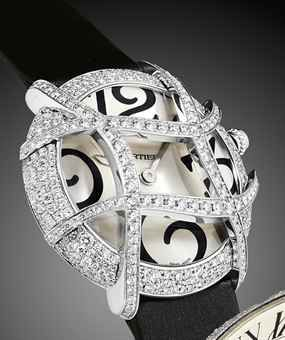 CARTIER. A LADY'S ATTRACTIVE AND RARE 18K WHITE GOLD AND DIAMOND-SET WRISTWATCH