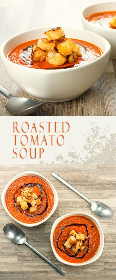 Roasted Tomato Soup Recipe: With a little bit of extra effort you can elevate a simple roasted tomato soup to a whole new taste level with hints of thyme and lots of roasted garlic #soup #soupoftheday #vegetarian #recipe #recipeoftheday #tomatosoup #balsamicvinegar