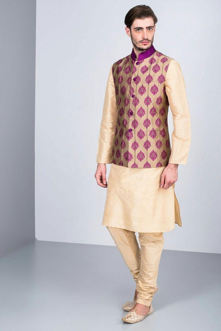 CHIRAAG DATTANI - beige kurta set and magenta printed bandi #flyrobe #groom #groomwear #groomsherwani #sherwani #flyrobe #wedding #designersherwani