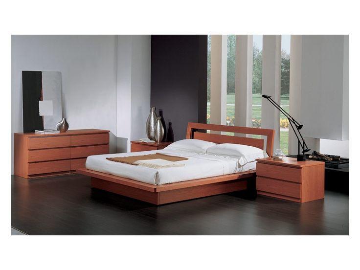 Letto con contenitore, in legno finitura ciliegio, per camere da letto contemporanee