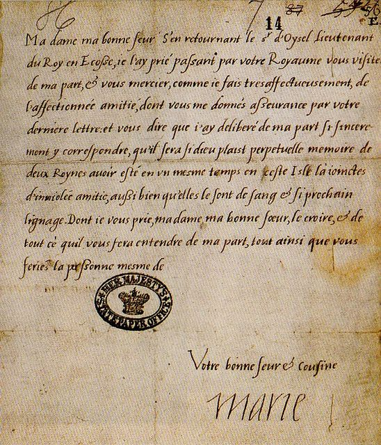 Letter written by Mary Queen of Scots to Mary Tudor