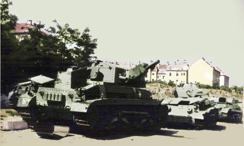 Turan tanks abandoned by the side of the road.