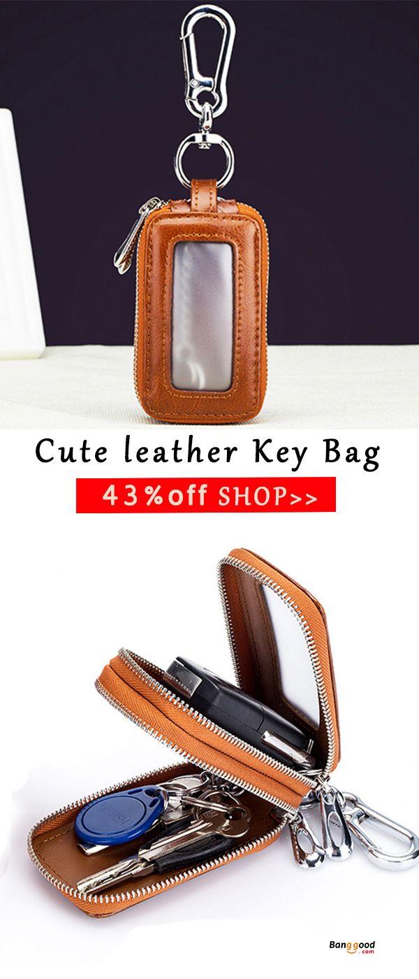 Genuine Leather Car Key Case Key Chain Holder Zipper Key Pouch for  Men   Women 937cc6281a