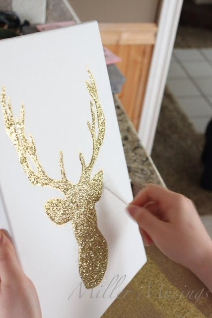 DIY Glittery Reindeer Canvas...I despise glitter, but I think this one's pretty cool!