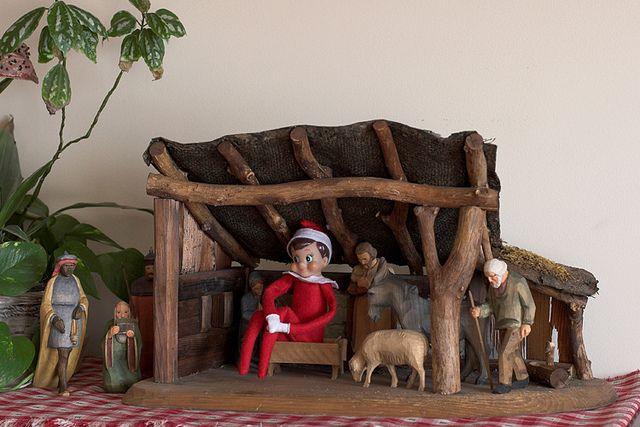Elf on the Shelf ideas  *except holding baby Jesus.Babyjesus, Holding Baby, Baby Jesus, Shelf Mischief, Native Scene, Christmas Decor, Shelf Ideas, Christmas Ideas, Native Sets