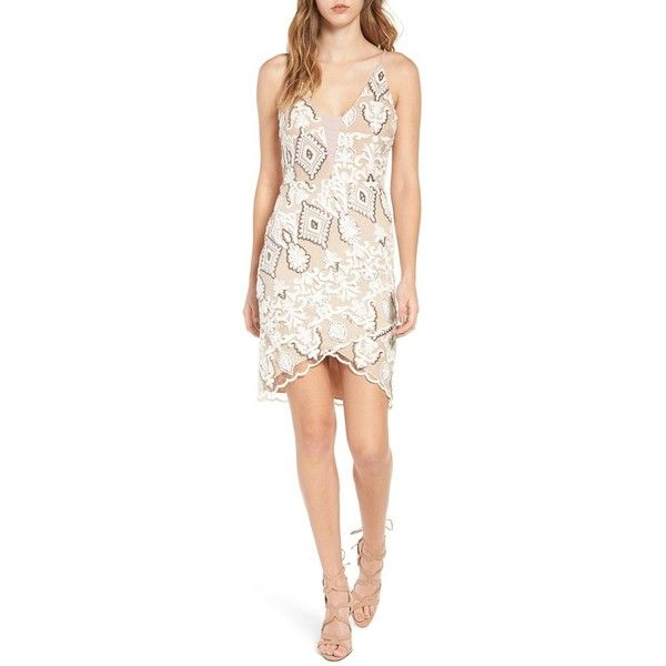 Women's 4Si3Nna Embroidered Body-Con Dress (5.275 RUB) ❤ liked on Polyvore featuring dresses, beige, party dresses, body con dress, sequin party dresses, beige party dress and bodycon cocktail dress