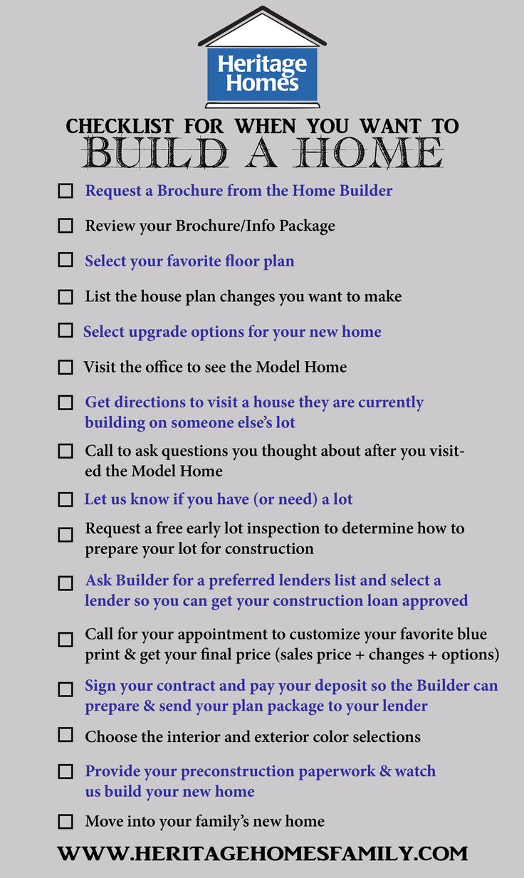 Checklist of what to do when you want to build a home the for List of new home builders