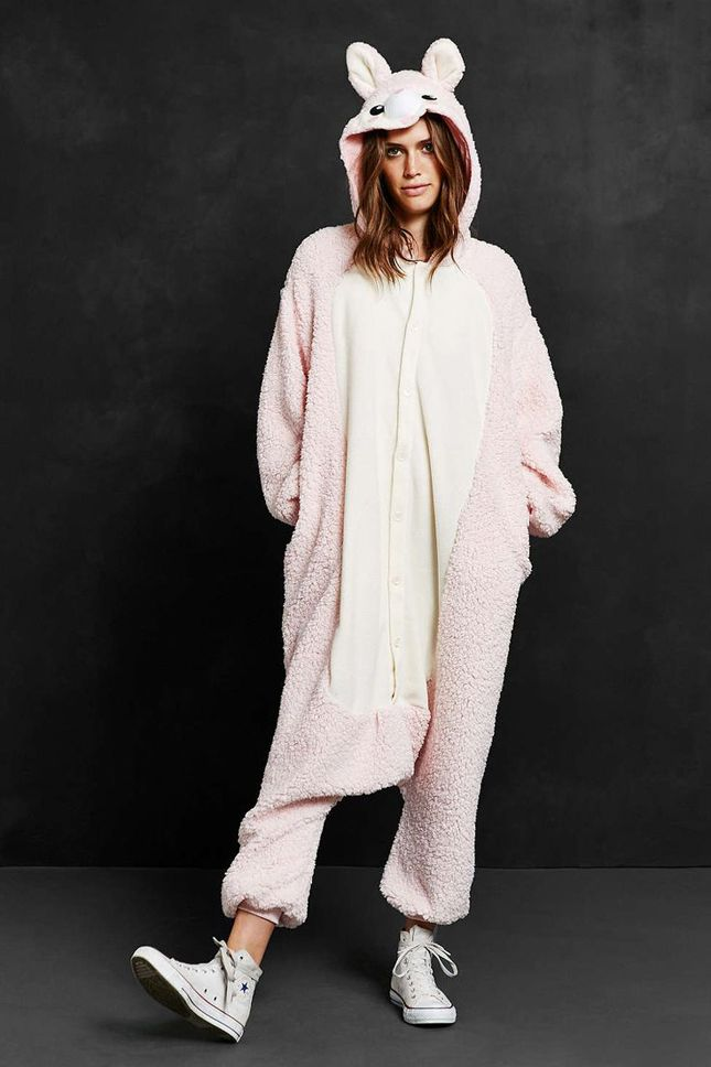 This alpaca costume doubles as pajamas.: