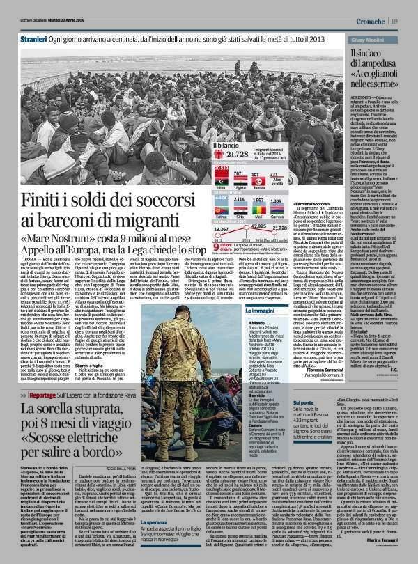 Finiti i soldi dei soccorsi ai barconi di migranti «Mare Nostrum» costa 9 milioni al mese #fb