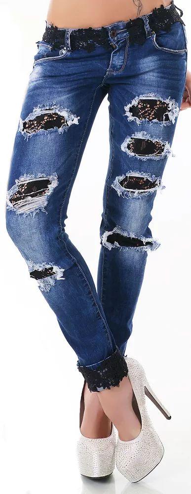 Černé džíny s krajkou