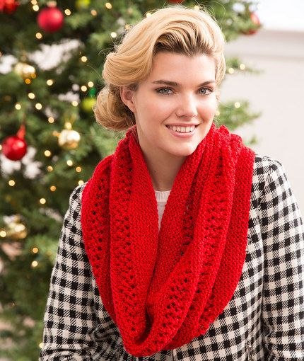 Christmas Cowl Free Knitting Pattern in Red Heart Yarns New, New Free Patte...