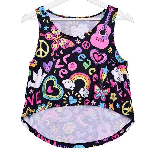 J40051 Women Cartoon Letter Paster Graphic Print Crop Top Blouse Casual Vest Hot