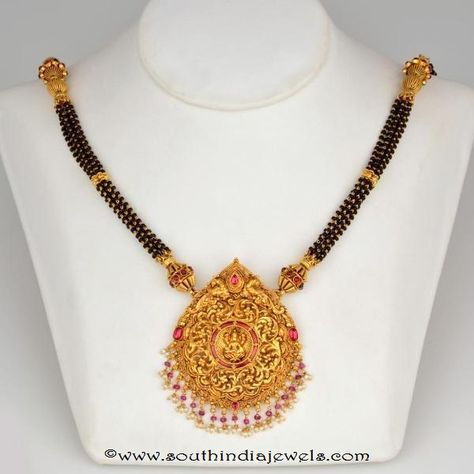 22k gold mangalsutra with lakshmi pendant with weight details