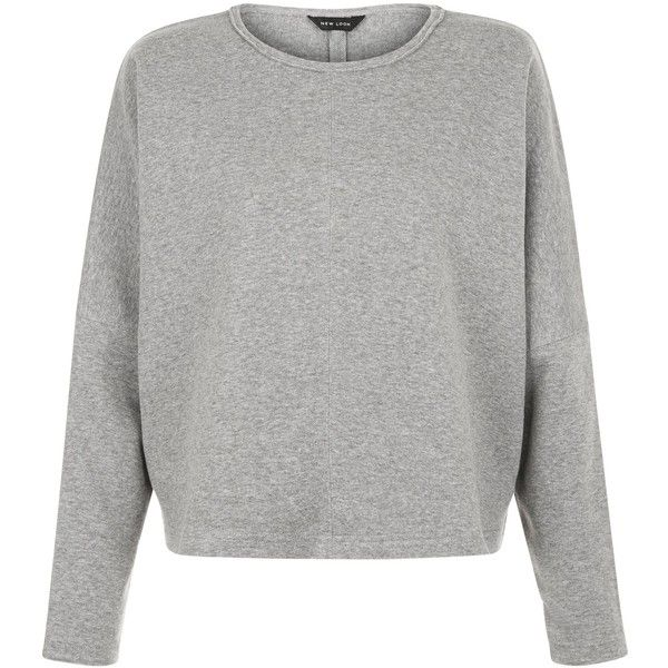 New Look Grey Batwing Cropped Sweater (50.065 COP) ❤ liked on Polyvore featuring tops, sweaters, grey, cropped tops, batwing sweater, cropped sweater, grey top and gray top