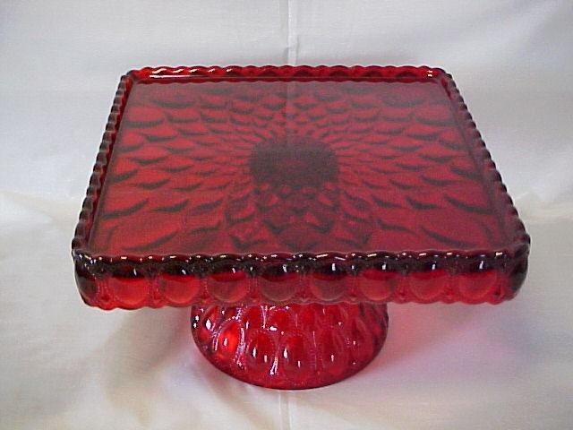 MOSSER GLASS RED PEDISTAL SQUARE CAKE STAND