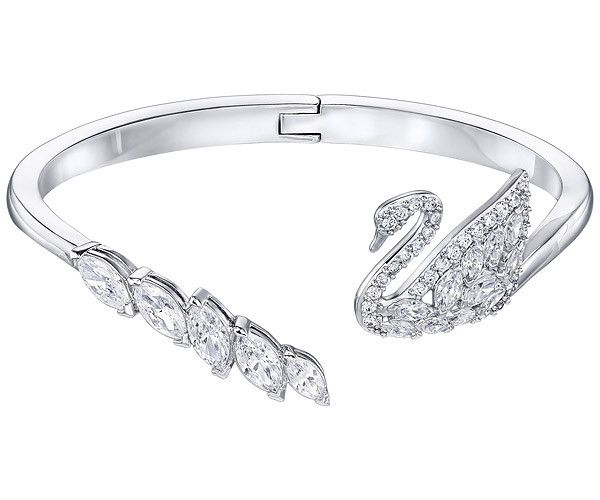 A must-have silhouette this season: the open shank bangle. Romantic and feminine, this rhodium-plated design features our iconic swan motif. It is... Shop now