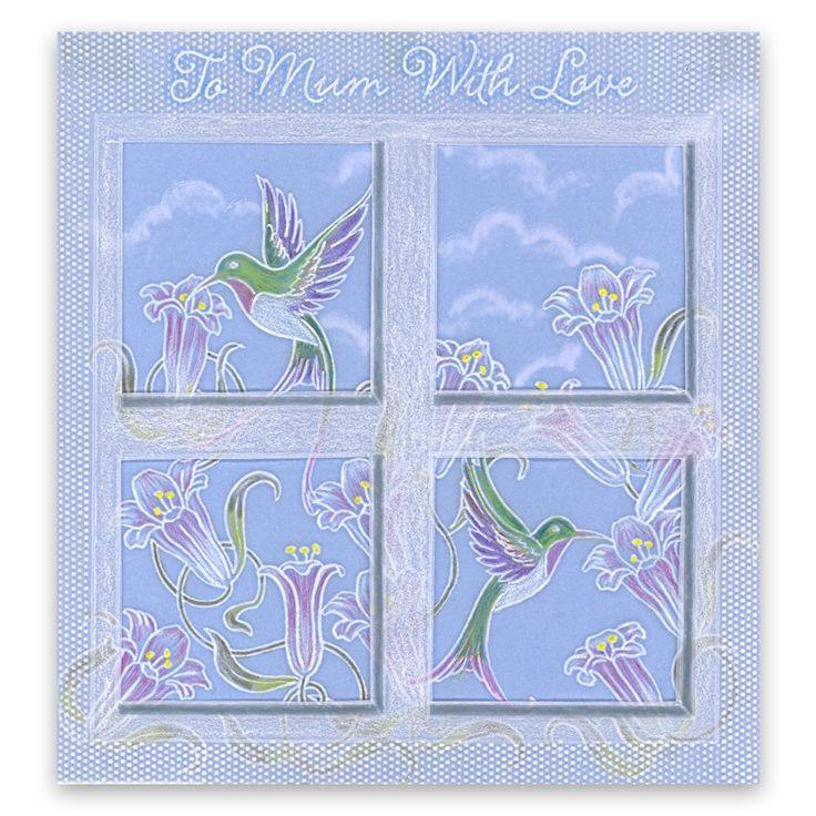 Jayne's Hummingbirds & Trumpet Lillies and Diagonal grid plates Groovi card created by Julie Owens