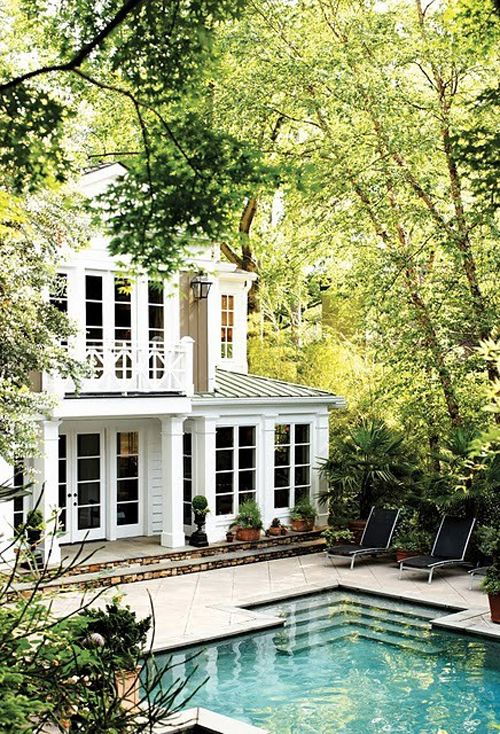 perfection: White Houses, Idea, Dreams Home, Dreams Houses, Window, Dream Homes, Dream House, Pools Houses, Backyard Pools