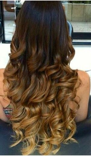 Brown caramel ombre curls   Hair styles