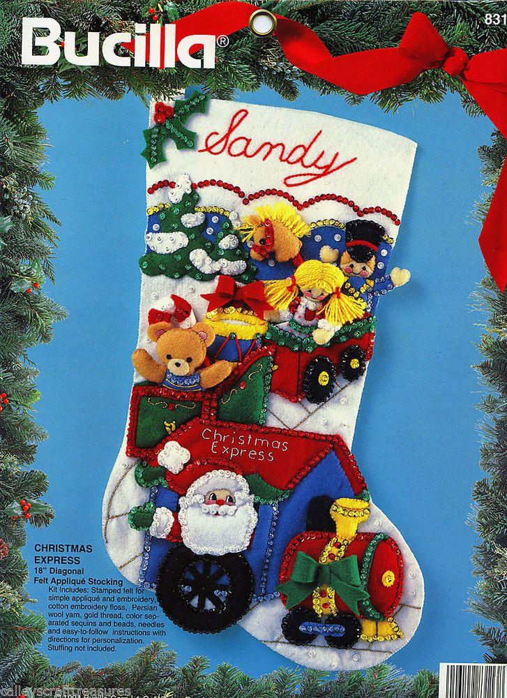 "Bucilla Christmas Express ~ 18"" Felt Christmas Stocking Kit #83113, Santa, Train"