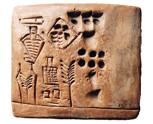 "Sumerian Beer Production Tablet, Sumer, Uruk III, 31st Century BCWritten in archaic Sumerian on clay, this tablets describes beer production at the Inanna Temple in Uruk; it translates as ""134,813..."