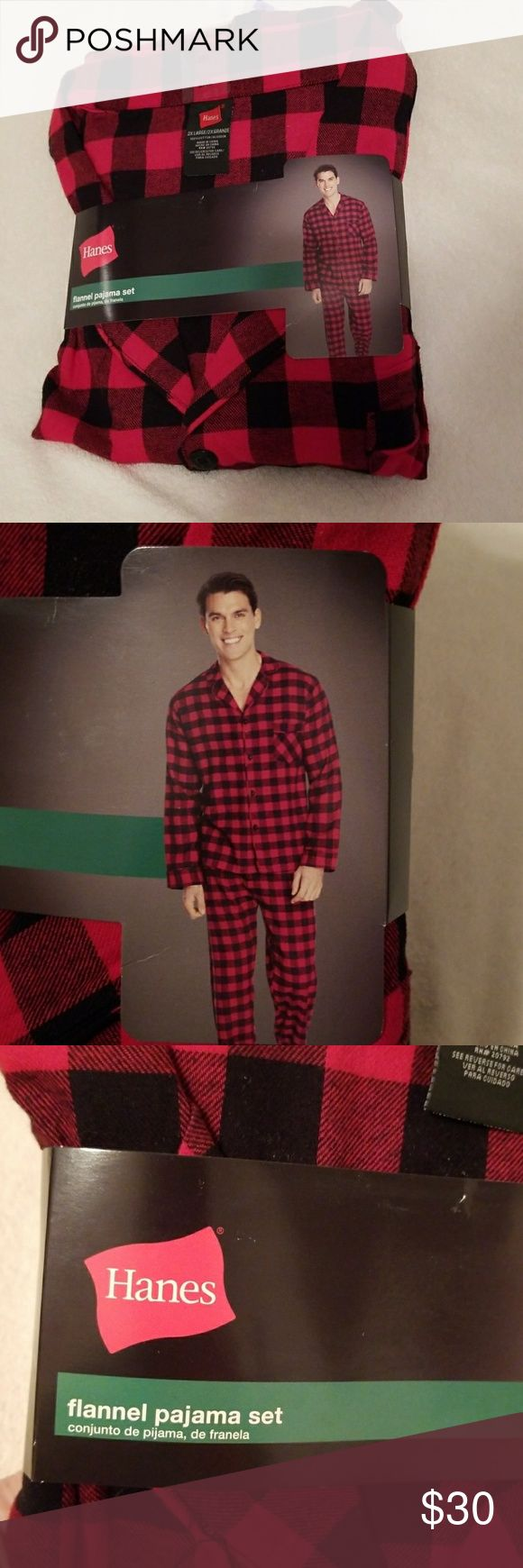😴 Men's Flannel Pajamas Set 2XL (Top & Bottom) NWT  Men's black/red checkered flannel pajamas set   2XL (Top & Bottom)   Fuller cut for easy movement. Comfortable, covered elastic waist band with adjustable drawstring.   Measurements:   Top: 50-52 chest Bottom: 44-46 waist Hanes Other