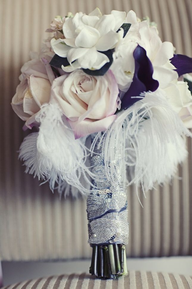 Beaded wrap on bridal bouquetIdeas, Wedding Trends, Bridal Bouquets, Weddingbouquets, Calla Lilies, Wedding Bouquets, Vintage Bouquets, Wedding Flower, Feathers