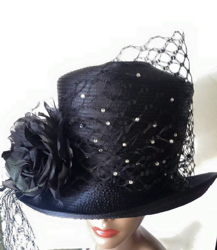 bulk satin hat wit netting and bow