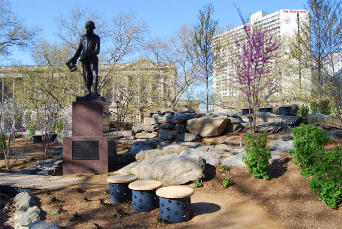 The newest green space in Philadelphia opens today: Sister Cities Park, at Logan Square on the Benjamin Franklin Parkway.