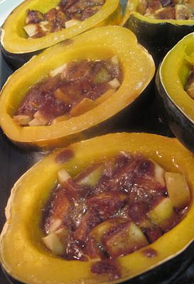 BUTTERNUT ACORN SQUASH WITH CINNAMON APPLES  2 - 3 acorn squash 1/2 c. packed light brown sugar  1/4 c. butter, melted 1 Tb. all purpose flour 1 tsp. salt  (I used less)  1 tsp. cinnamon 1/2 tsp. ground allspice 2 - 3 lg. apples - cored and chopped I tried this recipe and it was very, very good!