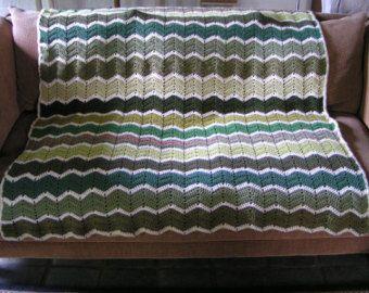 Gehaakte deken Afghaanse chevron oma door DonnasPinsandNeedles