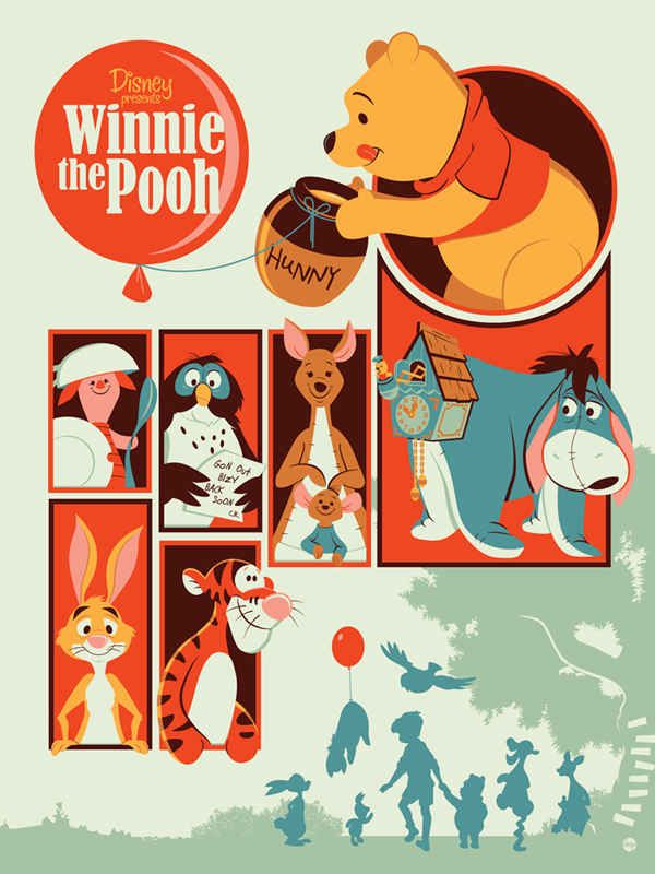 Winnie the Pooh | 25 Beautifully Reimagined Disney Posters That Capture The Magic Of The Films