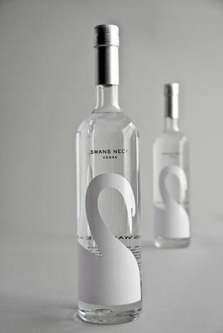 Swan's Neck vodka shrink sleeve design.  #etiquette #bouteille #shrink #sleeves #bottle #labels