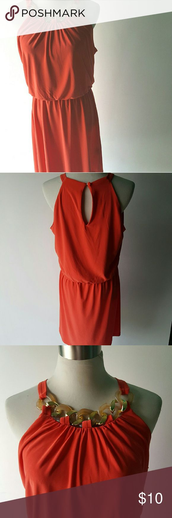 🎉$10 sale🎉JBS Petite Party Dress with Decor Fun orange petite large dress with halter neckline. Hits at waist perfect and very slimming. 🎉🎉 $10 sale for today only on select items🎉🎉 JBS Petite Dresses