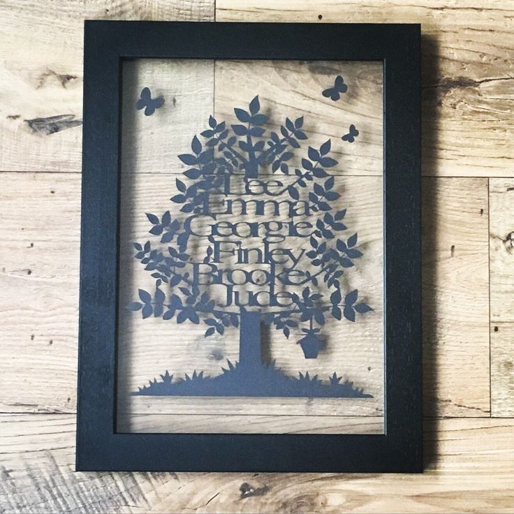 A personal favourite from my Etsy shop https://www.etsy.com/uk/listing/280756914/family-tree-papercut-family-tree