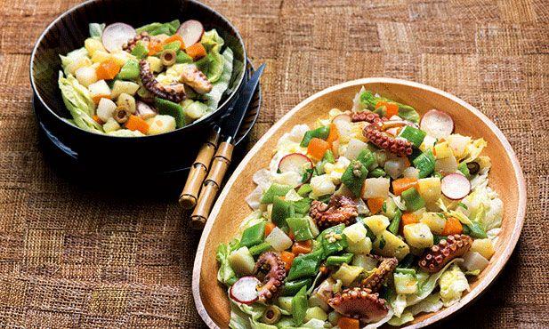 Polvo com legumes. Receita saudável e muito saborosa, ideal para jantar ou almoço.