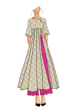 A Contemporary Cream Kalis Kurthi With Palazzo Suit