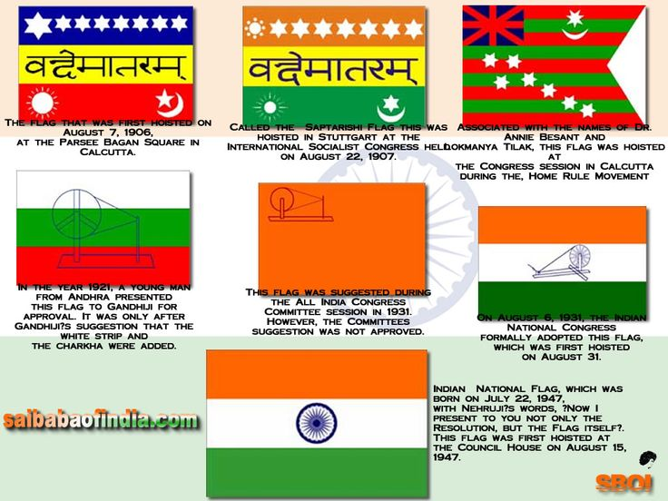 THE HISTORY OF THE INDIAN FLAG - 15 August Jai Bharath - I love My India.http://www.saibabaofindia.com/THE_HISTORY_%20OF_THE_INDIAN_FLAG%20.htm