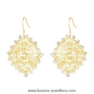 These stunning OLIVIA earrings are hand-crocheted, diamond shape drops