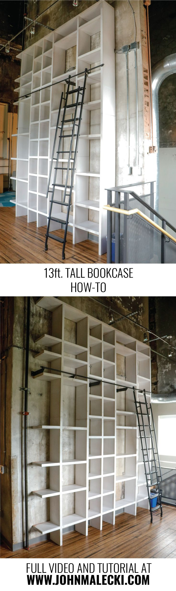 A 13ft. tall bookshelf is an enormous addition to any space. With huge ceilings and a gorgeous repurposed space, this rolling ladder system turned out stunning.