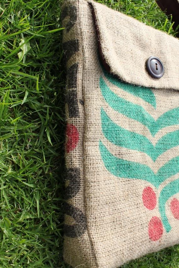 Upcycled coffee sack satchel....