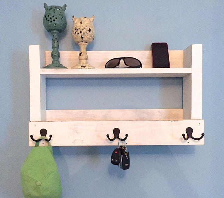 Rustic entryway shelf, key holder, mail organizer, rustic white shelf with hooks, kitchen shelf, farmhouse shelf, whitewash shelf by TheWoodenOwl on Etsy https://www.etsy.com/listing/243902137/rustic-entryway-shelf-key-holder-mail