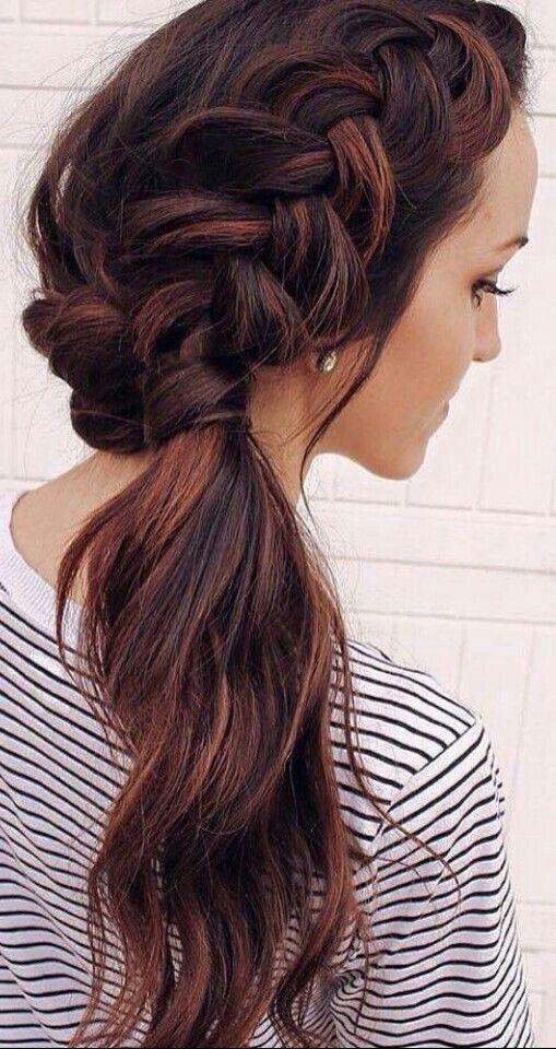 Balayage side ponytail with braid #gorgeoushair