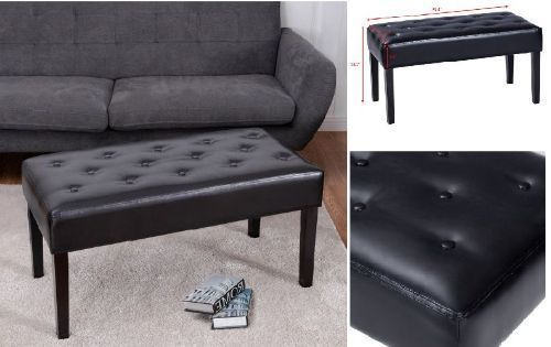 Elegant Design Soft Tufted Fabric Ottoman Footstool PU Leather Bench Black Home  #ElegantDesignSoft #Modern