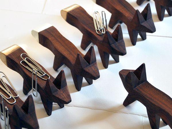 FOX solid walnut paper clip holder from Karbachian Design Office, $20