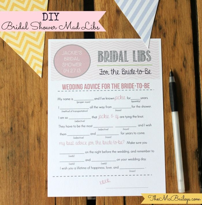 DIY Bridal Shower Mad Libs 40 best