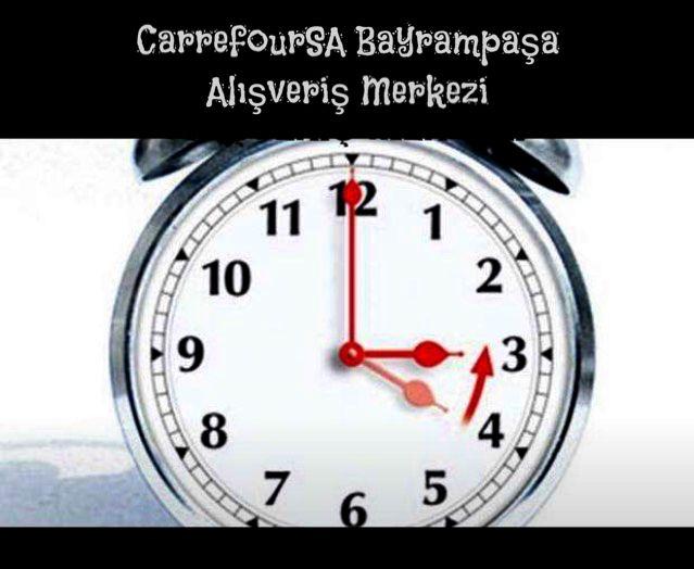 #Carrefoursa #Bayrampaşa #Alışveriş #Merkezi   #Saatinizi #geri #almayı #unutmayınız!  Yaz saati uygulaması iki hafta gecikmeyle 8 Kasım Pazar günü sona erecek. Saatler, cumartesiyi pazara bağlayan gece 04.00 itibariyle 1 saat geri alınacak.