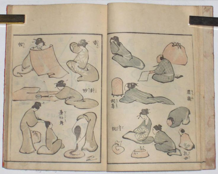 "Two pages from ""Denshin kaishu-ippitsu gafu, ""Drawing Manual – Album of Drawing with one Stroke of the Brush"", Katsushika Hokusai (1760-1849) - 1823. - One of the best known and most influential of Hokusai's books and one which was reprinted and copied many times. This one was published by Eirakuya Toshiro, Nagoya.  [Source: Japanese Prints, London]"