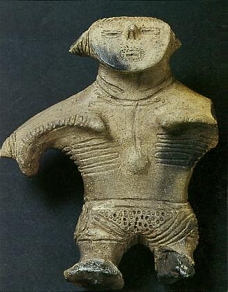 "Japanese ceramic figurine ""DOGU"". Jomon-era. Iwate Japan.   BC.1,200 - BC.800."