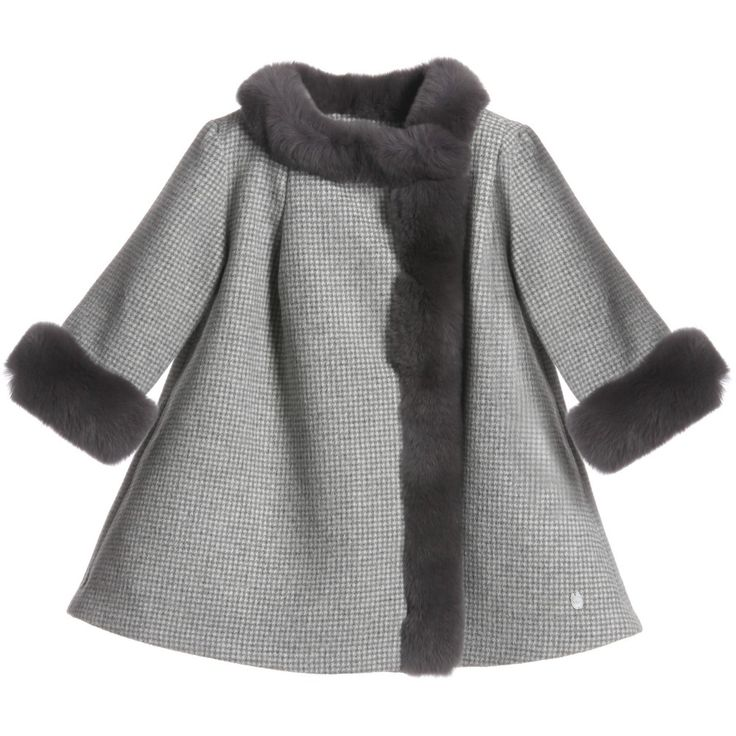 Dior Baby Girls Grey Houndstooth Angora Coat at Childrensalon.com